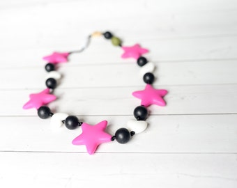 Star Silicone Teether - Silicone Teething Necklace - Babywearing Accessory - Baby Carrier Silicone Teether- Chew Beads- Tula Kinderpack Ergo