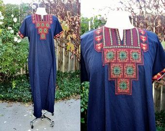 1990's Navy Blue Embroidered Folk Lounge Tunic Dress Maxi One Size Vintage Retro 90s Festival Hippie Boho burning Man Arab