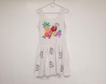 Vintage 1980s USA Grown Fruit Mini Sundress