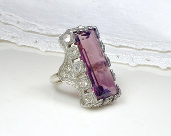 Antique Art Deco Ring, Amethyst Purple Crystal Paste Rhinestone Silver Ring, Size Small 1920s Great Gatsby Flapper Jewelry Vintage Edwardian