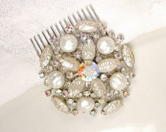 Vintage Champagne/Ivory Pearl Rhinestone Wedding Dress Sash Brooch OR Bridal Hair Comb, Silver Baroque Rustic Country Hairpiece Accessory