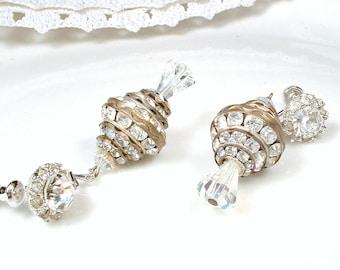 1930s Crystal & Rhinestone Ball Bridal Earrings, Vintage 12K White Gold Filled Dangle Earrings, Antique Flapper Art Deco Drop Screw Back