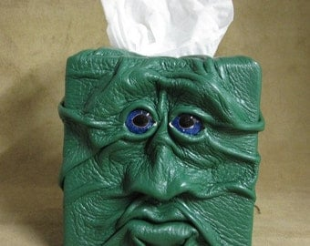 """Grichels leather tissue box cover - """"Zugram"""" 29471 - green with custom blue speckled fish eyes"""