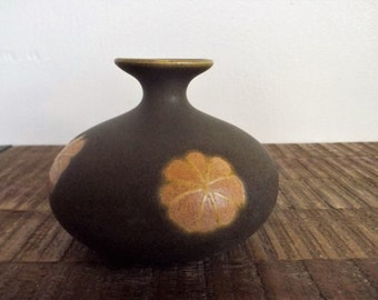 Vintage Small Short Brown Mod OTC Japan Bud Vase Weed Pot