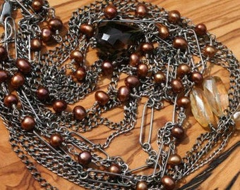 One of a Kind, Sweeping Oxidized Sterling Chains w/ Smokey Quartz Drop, Citrine Cluster, and Freshwater Pearls