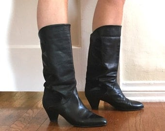 Vintage Black 80's Boots, Leather and Suede Slouchy Fold Over, Low Heel, Size 38.5, 7.5 to 8