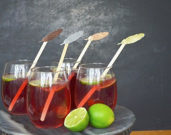 Glitter Feather Drink Stir Sticks - Choose from a range of colors including gold, silver, copper, bronze and many more!