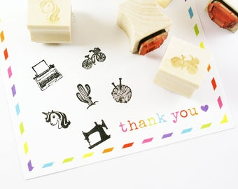 Stamp cuties - mini peg stamps - typewriter, unicorn, ball of yarn, cactus, beach bicycle, sewing machine - for planners, letters, crafting