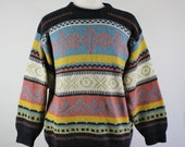 SALE - Vintage French Tribal Print Multi Color Wool Blend Fall Winter Sweater - Mens Size Large