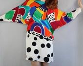 RESERVED RESERVED RESERVED Vintage 80s 1980s Women's Yolanda Lorente Rare Designer Bold Op Art Modern Art Geo Design New Wave Silk Dress