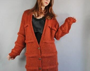 Vintage 80s 1980s Women's Mohair Blend Rust Burnt Orange Long Oversized Cardigan Sweater