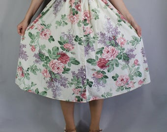 80s does 50s Floral Skirt, Fit and Flare, Boho Skirt, Cotton Skirt, Roses, Summer, Midi, Country Skirt, Retro 50s, Pinup, Wedding, Small