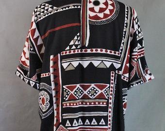 90s Womens Black Tribal Afropunk Black Short Sleeve Shirt, Vintage, Summer Shirt, Festival, Geo Design, Size Large