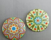 "Geometric Pattern, Funky Fabric Fridge Magnet, sealed fabric button magnet - 1.5"" (1 1/2 inch, 38mm)"