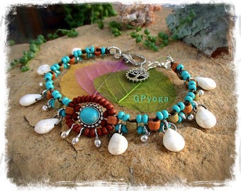 WHITE stone DROP charm ankle bracelet Turquoise jewelry Bohemian WEDDING Bridal beaded anklet Bridesmaid gift Festival foot jewelry GPyoga