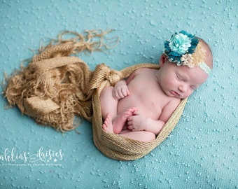 Glimmer All You've Got - teal aqua and gold rosette and chiffon metallic headband bow