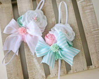 Joy + Light- aqua mint pink and white rosette chiffon flower headband bow