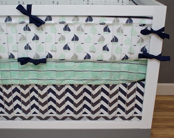 Nautical Crib Bedding Baby Boy Nursery, Navy, Mint Green, Gray Baby Bedding, Anchors, Sail Boats, Chevron Neutral Ocean Nursery Bedding
