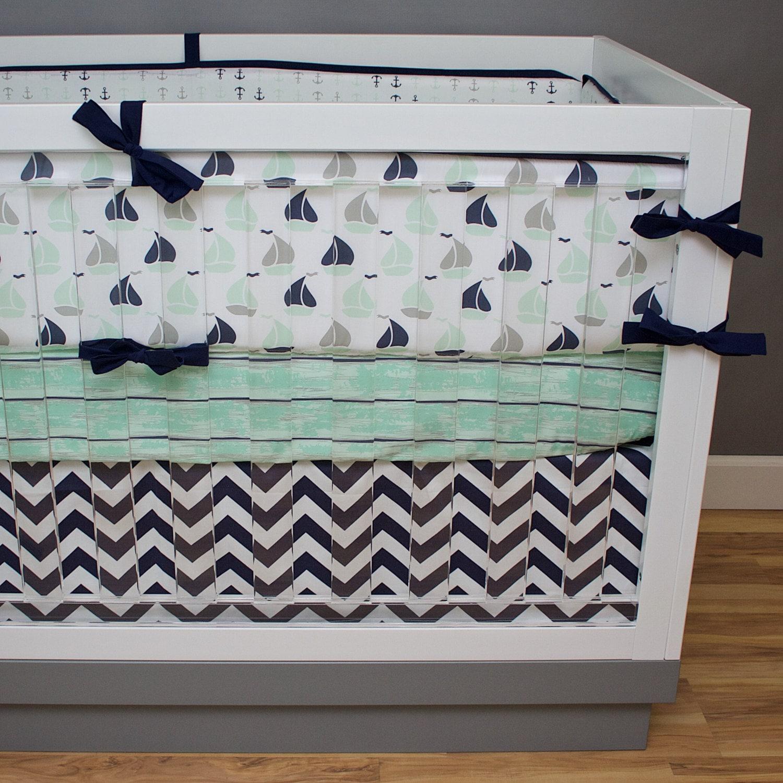Baby Nash S Vintage Nautical Nursery: Nautical Crib Bedding Baby Boy Nursery Navy Mint Green Gray
