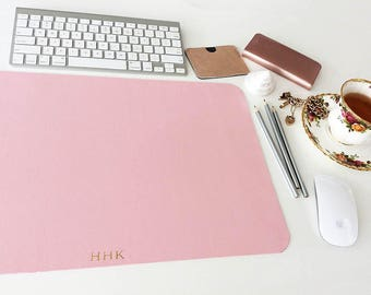 "Personalised Pink Desk Blotter 12"" x 18"" Laptop PC Tablet MacBook Mat Gold Monogram Luxury Desk accessory Gold Name Initials Office Desk Mat"