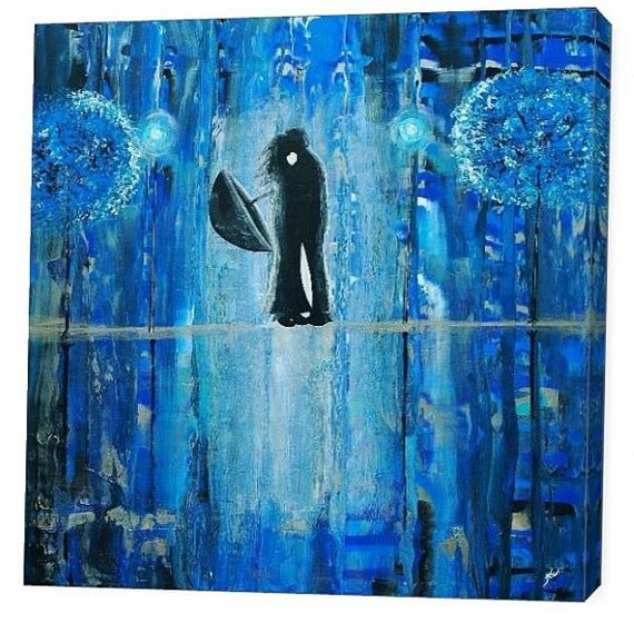 LE Deep Canvas Wrap Giclee Print of Original Painting Sapphire Rain Romance Amber Elizabeth Lamoreaux Impasto Blue Rainy Street Couple Love