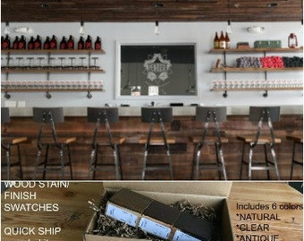 Reclaimed Bar Stools, Farmhouse Bar Stools, Commercial Stools. Finish/stain sample kit to try B4 you buy