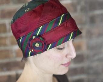 Upcycled Recycled Repurposed Red Green Yellow Necktie Cloche Flapper Hat for Women by Lulu Bea