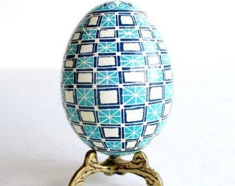 Blue Pysanka Ukrainian Easter egg hand painted perfect gift for baby boy baptism or first Christmas keepsake that can be personalized