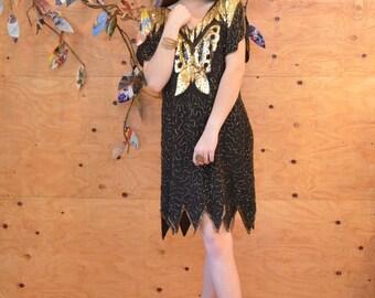 Vintage 80's Black Silk Beaded Sequin Dress With Large Butterfly, Unique Zig Zag Hem SZ S/M/L