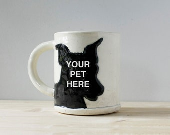 Pet Portrait Mug | created from your photo | personalized custom pet portrait gift | dog cat pet animal lover coffee mug tea cup