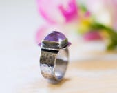 Amethyst Sterling Silver Ring, AAA Gem Grade Amethyst, Pink Amethyst - Size 8.25, Size 8.5 - Sanctuary of Light