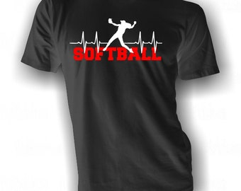 Softball Heartbeat - Softball T-shirt - Softball Life Tee - Softball Heart Shirt - Live for Softball Shirt - Softball in my Blood T-Shirt