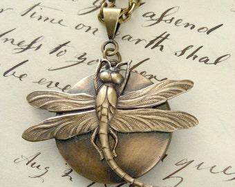 Locket Necklace - Vintage Necklace - Dragonfly Necklace - Brass Necklace - Handmade Jewelry