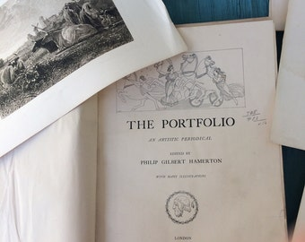 The Portfolio - Rare Vol.16 1885, Book with Antique Engravings on heavy paper