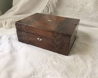 Antique Tunbridge Ware Inlaid Marquetry Box with Key