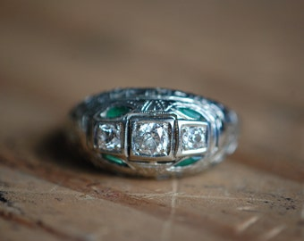 Antique Art Deco 18K European Cut diamond and marquise emerald filigree ring