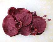 Beautiful double orchid made of velvet and satin in burgundy rockabilly hairflower vintage wedding bride 50s