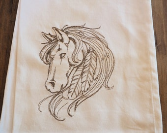 Dreamy Delicate Horse and Feathers Embroidered Kitchen Towel  Proceeds To Charity