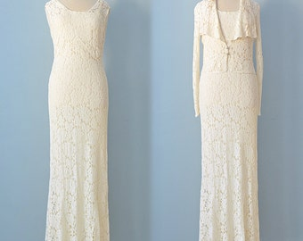 1930s Wedding Gown...Vintage Lace Bias Cut Wedding Gown with Matching Jacket