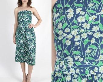 Lilly Pulitzer Dress The Lilly Summer Dress Designer Dress Vintage Dress Party Dress Navy Blue Floral Bandeau Bow Tie Boho Midi Mini S M