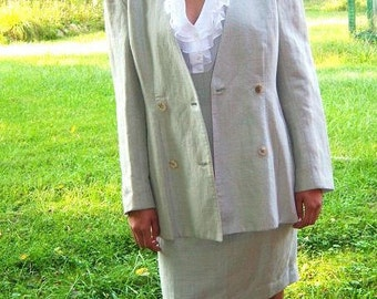 Vintage Spring Skirt Suit Bagatelle / 1980's Does 1940's / Pencil Skirt Nipped Waist Big Shoulders Linen Look / Tailored Feminine  Classic