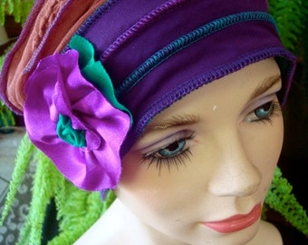 Womens hat chemo hat soft stylish chemo gift cloche flapper hat purple green headcover winter hat summer