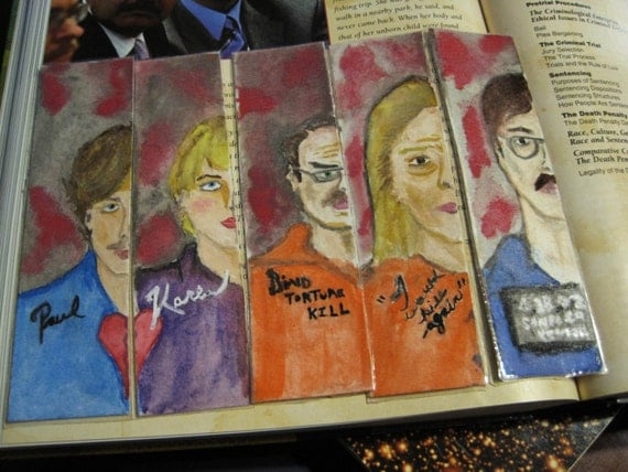 Hand-Painted Serial Killer Art Bookmarks