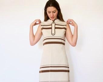 70s Retro Tan Brown Striped Knit Sweater Scooter Dress s m l