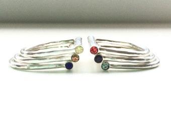 Swarovski Crystal Sterling Silver Bar Stacking Rings // Black Diamond Ruby Sapphire Citrine Onyx Crystals Stack Ring