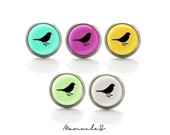 Colorful Birds - 5 different colors earrings studs Titanium Post Earrings | Hypoallergenic Earring Stud | Titanium Sensitive jewelry