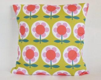 Retro Mod Flower cushion Cover in Mustard Pink Orange