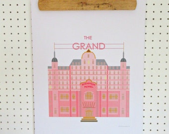 Grand Budapest Hotel Inspired Print A3 Poster Pink Minimalist