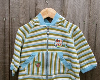 Upcycled Kids Jacket Hoodie Sweater Recycled Clothing Recycled Clothes 12-18 Month Stripes Striped Shirt Animal Applique Hipster Baby Gecko