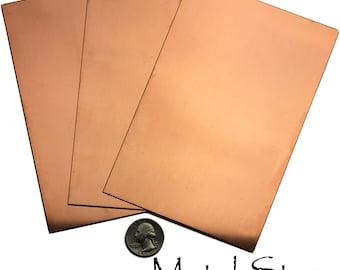 "3 Copper Sheets - 26 gauge - 4"" x 6"""